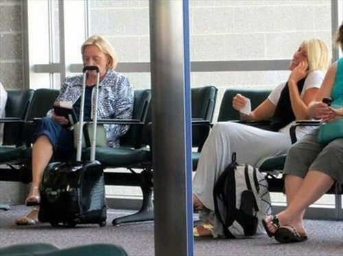 airports mustaches luggage photobomb