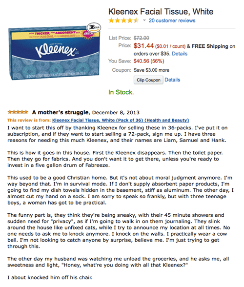 amazon,product reviews,fapping,kleenex,monday thru friday
