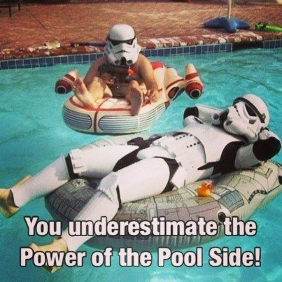 stormtrooper,poolside,dark side,vacation