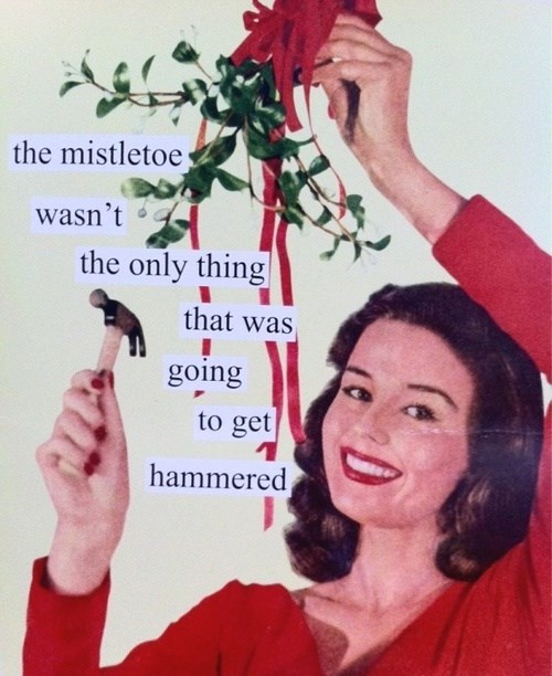 christmas,drinking,mistletoe