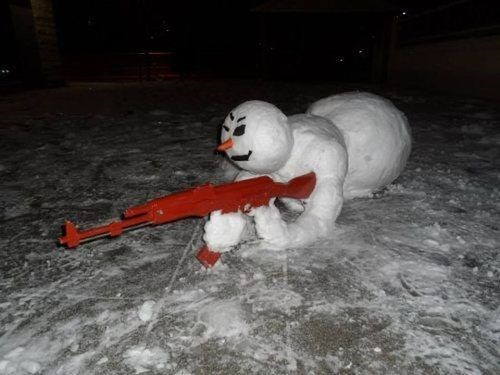 guns,snowman,winter
