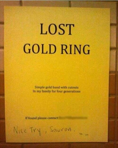 Lord of the Rings rings lost ring sauron - 7966409728