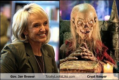 Jan Brewer,totally looks like,crypt keeper