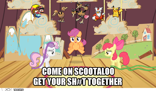 cutie mark crusaders,mario,Pokémon,Scootaloo