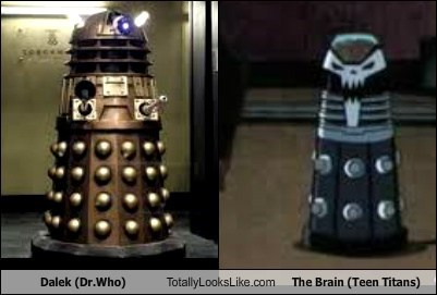 daleks doctor who totally looks like the brain teen titans