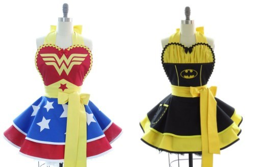 aprons,batman,etsy,superheroes,wonder woman
