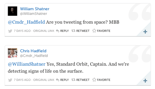 twitter William Shatner chris hadfield - 7970219776