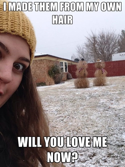 christmas,snowmen,overly attached girlfriend