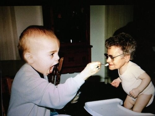 Babies faceswap feeding grandparents parenting