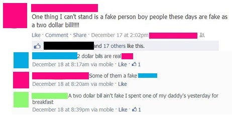fake people,2 dollar bills