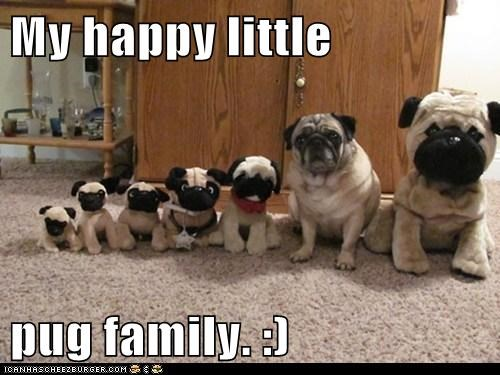 cute family dogs pugs toys - 7970402304