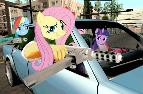 Grand Theft Auto,MLP,fluttershy,rainbow dash
