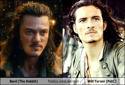 Bard The Hobbit totally looks like pirates of the carribean will turner