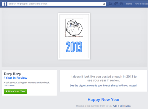 forever alone,facebook,Year In Review