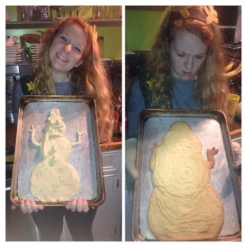 baking FAIL there I fixed it snowman