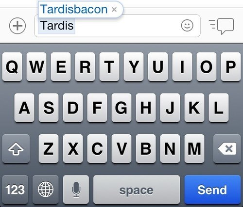 bacon autocorrect doctor who tardis text - 7974102784