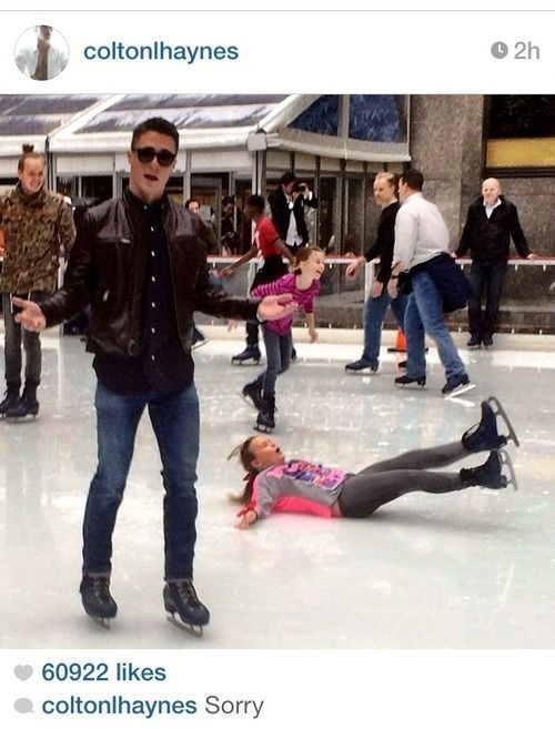ice skating photobomb colton haynes - 7974201600
