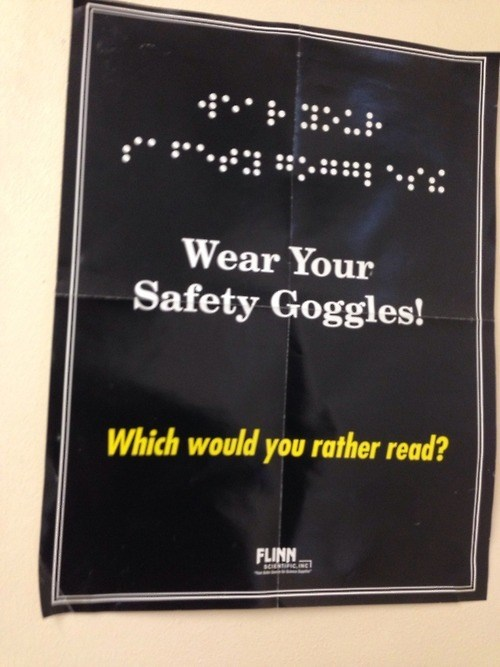 blind,funny,science,safety goggles