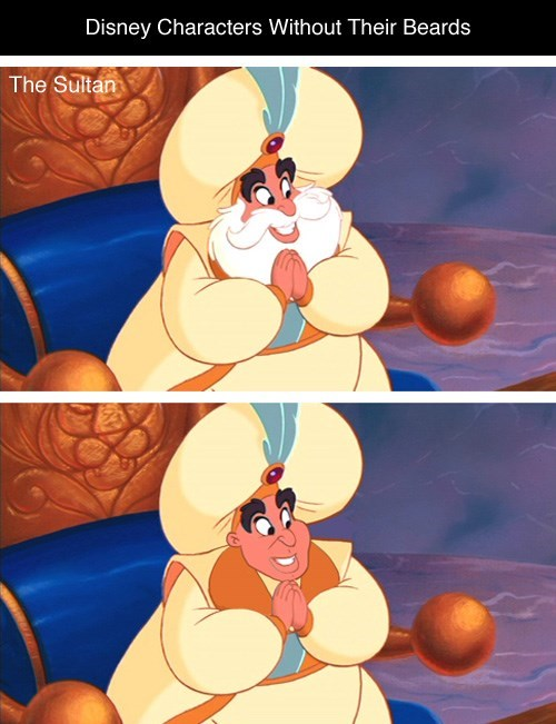 Cartoon - Disney Characters Without Their Beards The Sultan