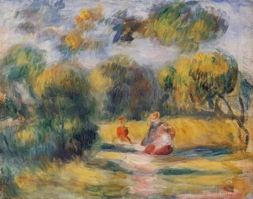 Figuren In Een Landschap 1900 door Pierre Auguste Renoir