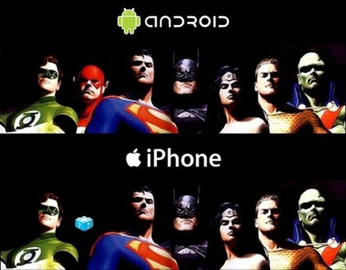 apple,androids,iphone,superheroes