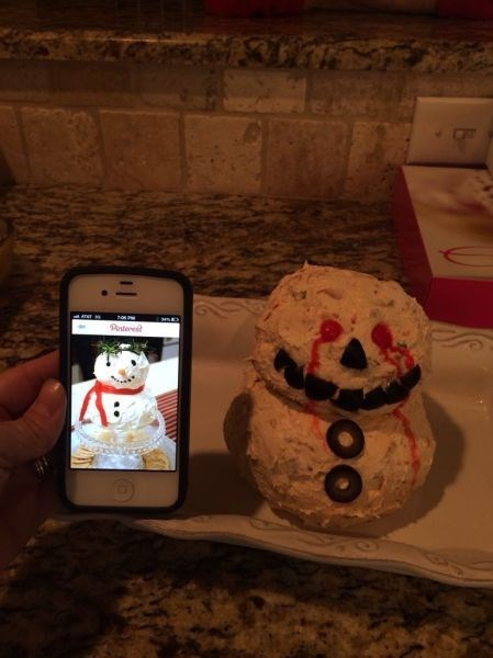 food Nailed It snowman there i fixed cheese ball - 7975359744