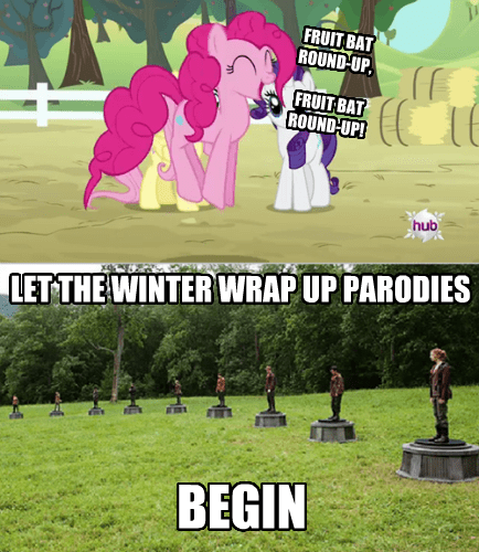 hunger games,fruit bat,pinkie pie,winter wrap-up