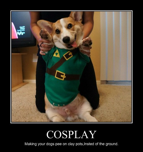 COSPLAY Making your dogs pee on clay pots,Insted of the ground.