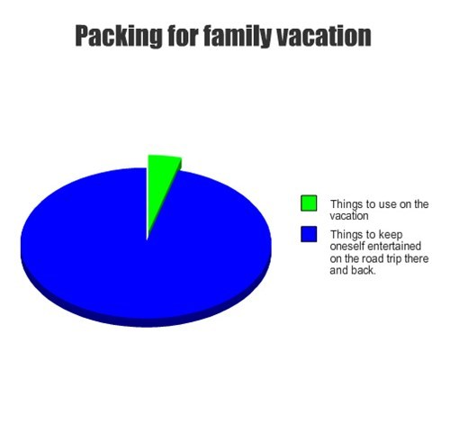 packing,family,Pie Chart,vacation