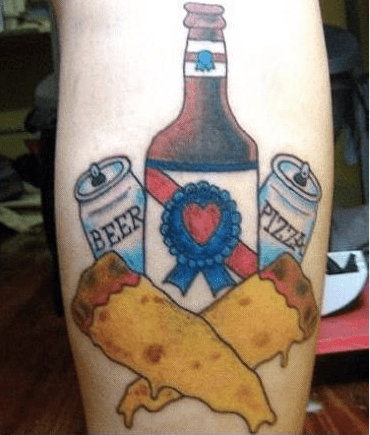 beer pizza wtf tattoos - 7977875968