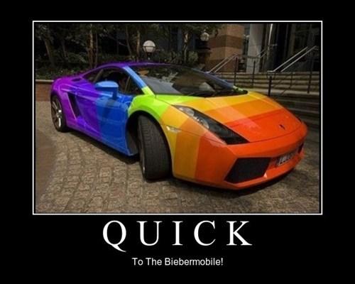 car,funny,justin bieber,rainbow