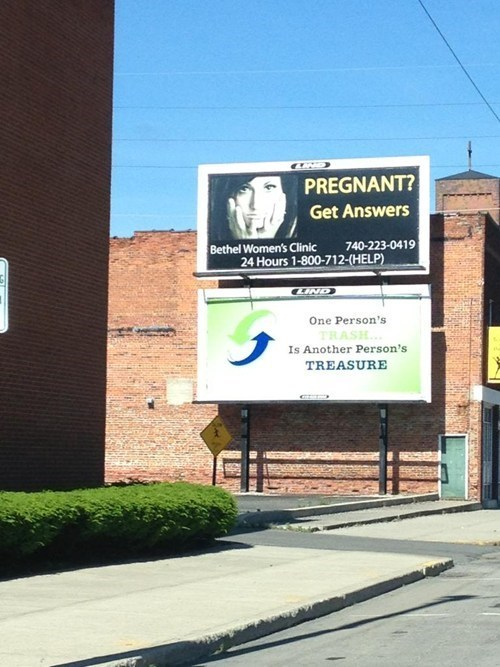 billboards advertising pregnancy trash ftmd - 7978445824