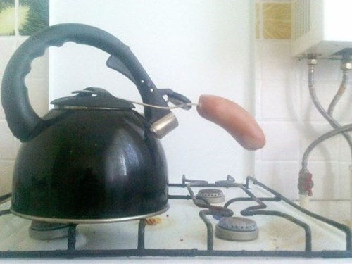 cooking food there I fixed it teapots sausages