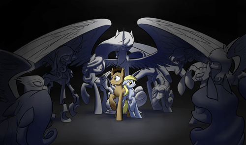 doctor hooves,derpy,dont-blink,weeping angels
