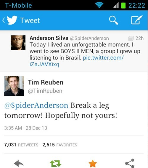 anderson silva injury ouch tweet ufc