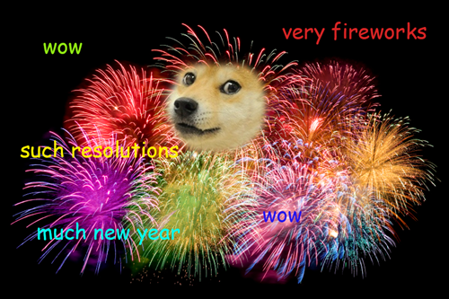 new years fireworks doge - 7979088640