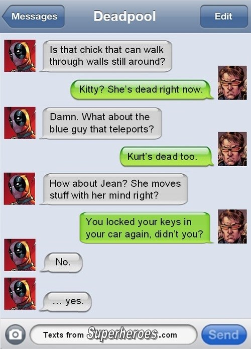 cyclops,deadpool,texts