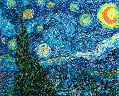 candy,starry night,Van Gogh
