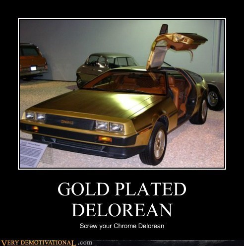 awesome,car,gold,DeLorean,funny