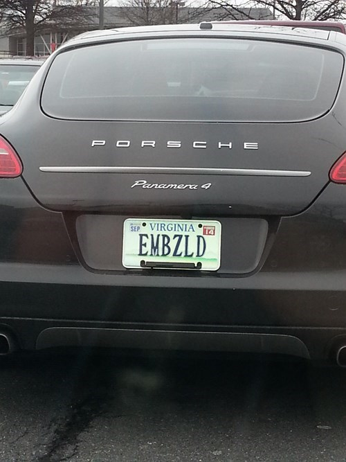 cars,driving,embezzlement,license plates,porsche,panamera