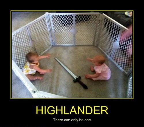 baby,highlander,funny,sword,wtf
