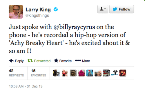 Billy Ray Cyrus Larry King hip hop twitter achy breaky heart - 7983146496