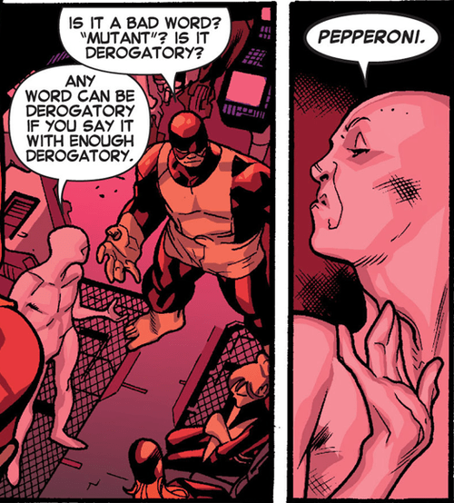 racism x men pepperoni words mutants off the page - 7983273472