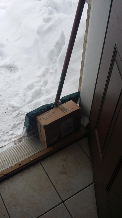 deliveries,snow,shovels,there I fixed it,packages