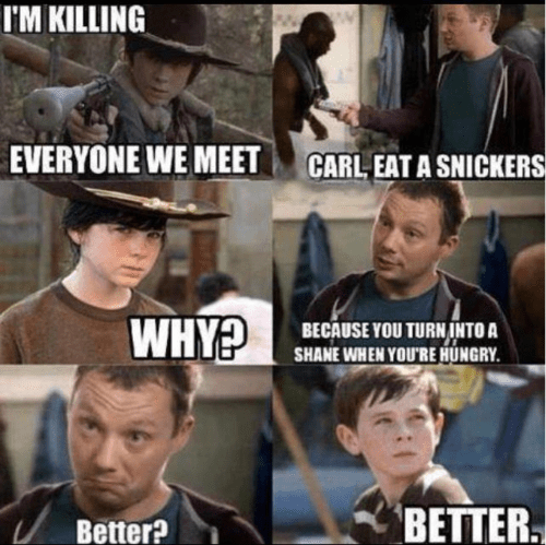 carl grimes,shane walsh,snickers