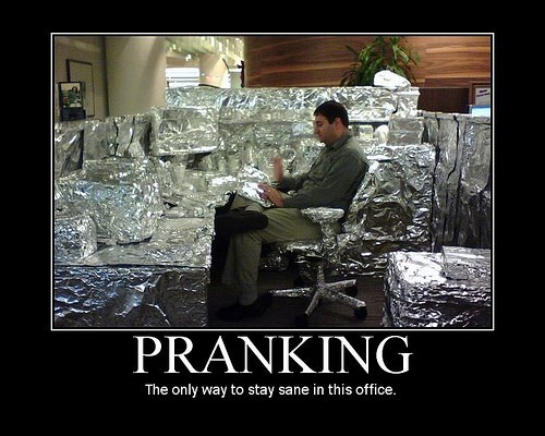 funny Office prank tin foil