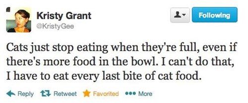 eating cat food tweet - 7983630336