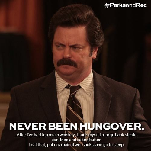 funny hungover parks and rec ron swanson - 7984455168