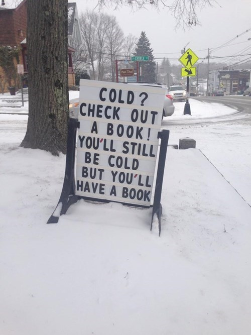books,snow,signs