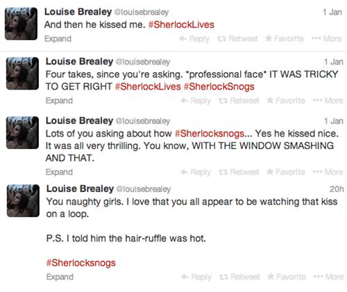 bbc,sherlock series 3,twitter,Sherlock,louise brealey